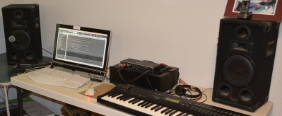 My music workstation in the basement.
