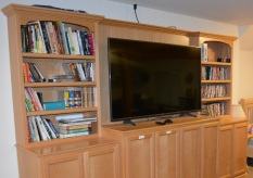 Our entertainment center in the basement.
