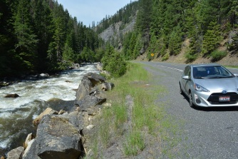 The road to elk city with my prius and the South Fork of the Clearwater River