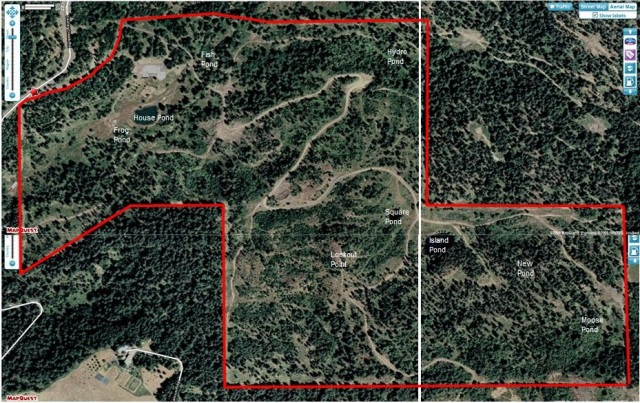 Arial Map View of Ranch with Boundaries and pond names