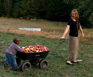 Abashai helps mom bring in the apples