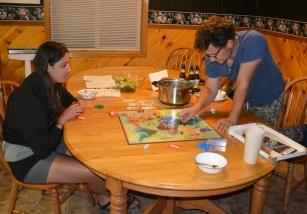 Emily, Alex and I enjoy a game of risk.