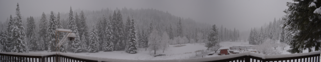 Pan of Ranch Back Yard in deep snow