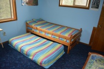 The boys room has a trundle bed for 2.